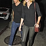Emily VanCamp and Josh Bowman walked out of a club in Hollywood.