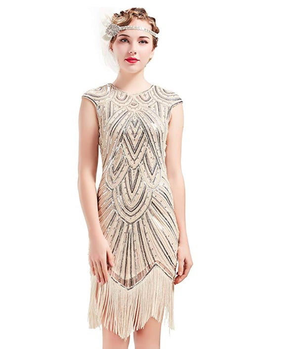 Babebeyond 1920s Beaded Fringed Great Gatsby Dress