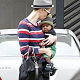 Charlize Theron gave baby Jackson a sweet kiss on the forehead.