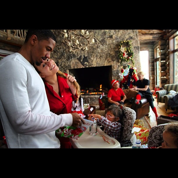 Nick Cannon and Mariah Carey opened presents with their children, Moroccan and Monroe. Source: Instagram user nickcannongram