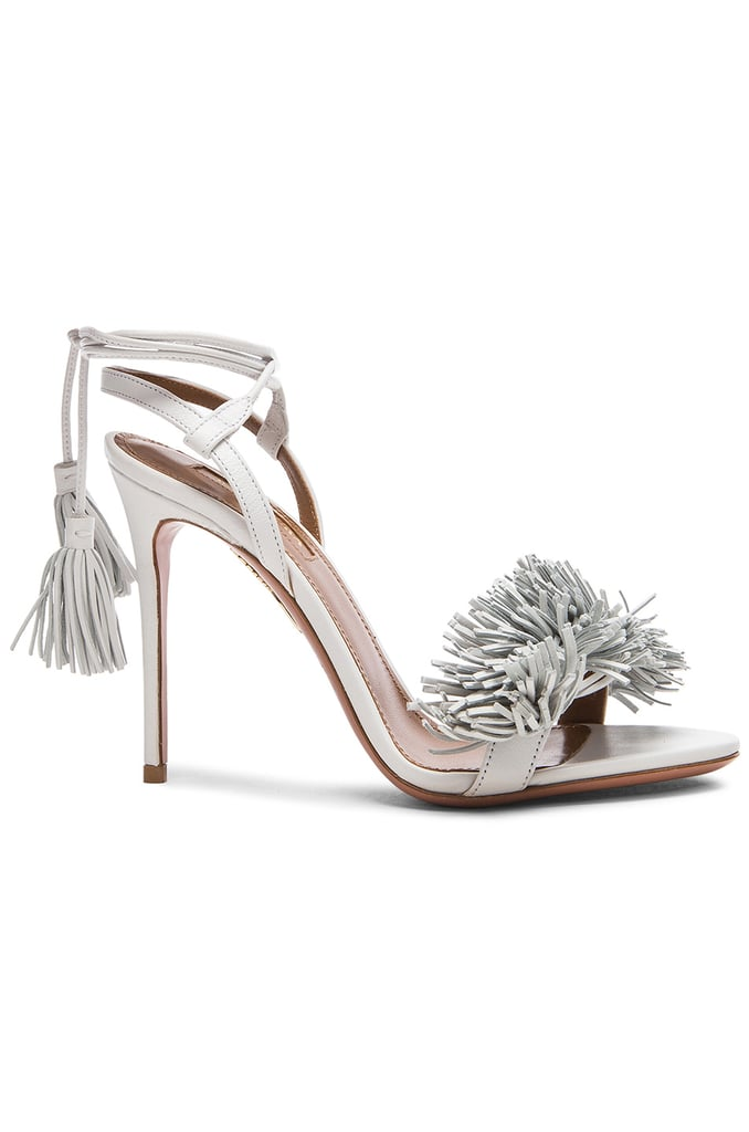 Aquazzura Wild Thing Leather Heels in White ($785)