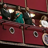 President Obama and First Lady Michelle Obama sat beside the honorees.