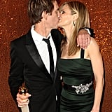 Kyra celebrated Kevin's big win at the Golden Globes by giving him a smooch at the HBO afterparty in January 2010.