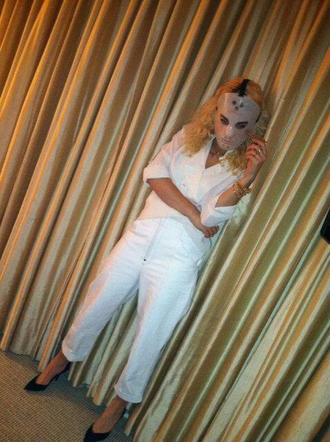 Rita Ora transformed into a masked murderer. Source: Twitter user RitaOra