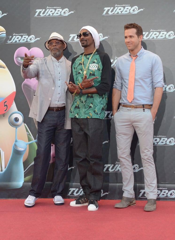 Well, this is an unexpected group. Samuel L. Jackson, Snoop Lion and Ryan Reynolds attended the Turbo premiere in Barcelona, Spain, on June 25.