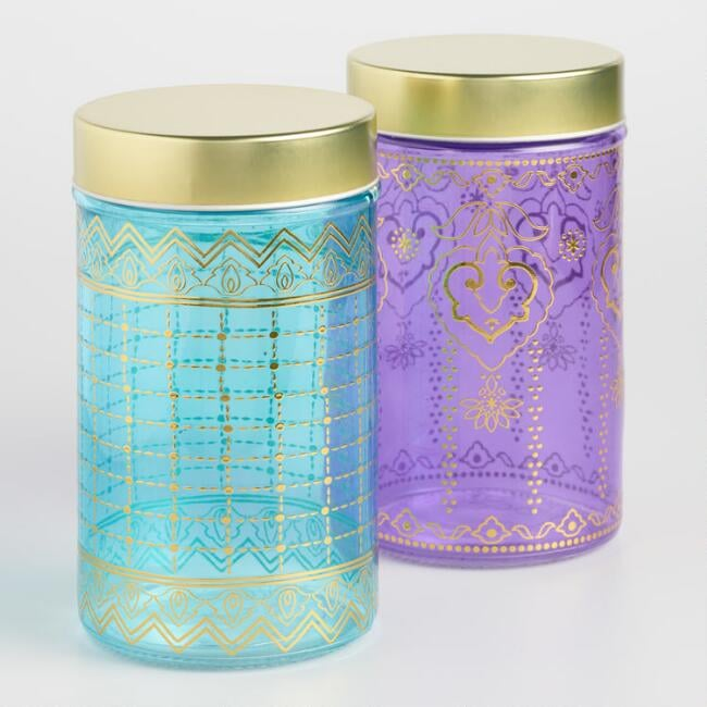 Large Glass Jaipur Storage Containers Set Of Two Cheap