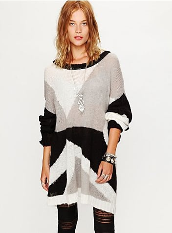 Pair this modern coloblocked sweater with a pleated maxiskirt and peep-toe booties for the perfect Spring transitional look.  Free People Colorblock Pullover ($168)