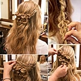 This romantic half-up hairstyle is one you'll want to duplicate for date night or as you're out working the wedding season circuit.  Source: Caroline Voagen Nelson