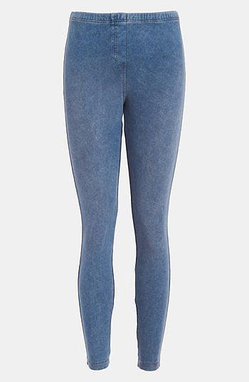 Sometimes we don't actually want to wear jeans, we just want to look like it — that's where these Topshop acid-washed denim leggings ($44) come in.