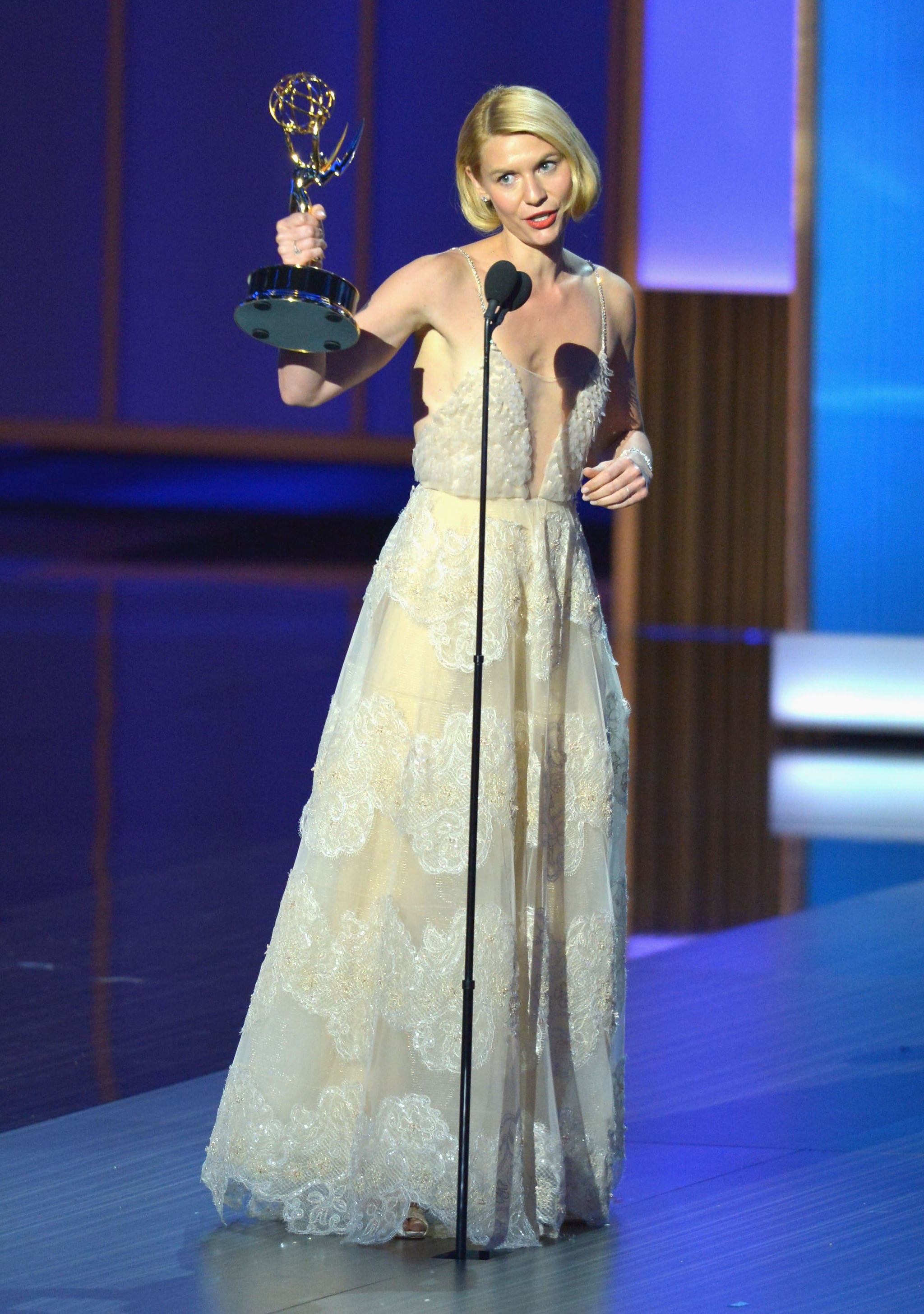 Claire Danes won the award for leading actress in a drama for Homeland.