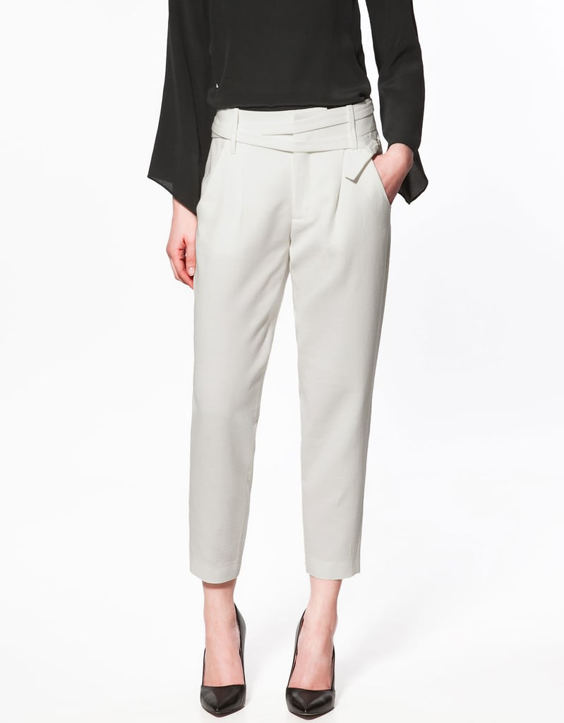 We love the modern waistband detailing and slightly off-white hue.  Zara Studio Crop Trousers ($90)