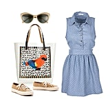 A lightweight chambray dress is our personal barbecue favorite. You can dress it up or down, depending on the time of day, and it always looks chic and put-together. If you're headed to a party on the patio, nothing looks cooler or more Summer-ready than a pair of raffia sneakers and retro-chic cat-eye shades — add a fun printed tote bag and you're set! Shop this look:  Tory Burch Cat-Eye Sunglasses ($149) Delia's Sleeveless Dot Chambray Dress ($28, originally $35) Superga Cotu Raffia Sneakers ($100) Marni Printed Vinyl and Leather Tote ($350)