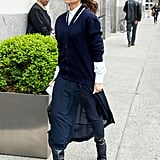 Pairing a Black Cardigan With a Navy Skirt