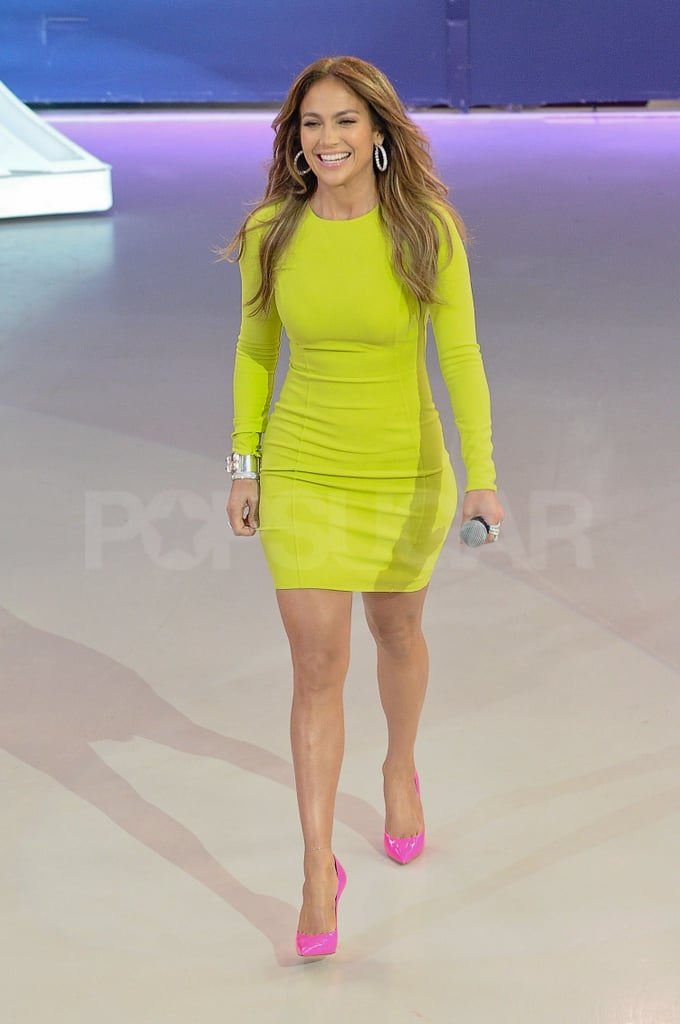 Jennifer Lopez wore an electric shade of lime for a TV appearance.