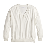 V-Neck Boyfriend Sweater in Pristine