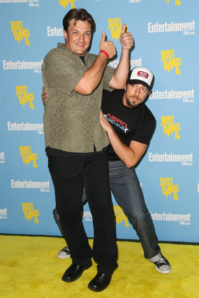 Nathan Fillion and Zachary Levi goofed around at the Entertainment Weekly bash in 2012.