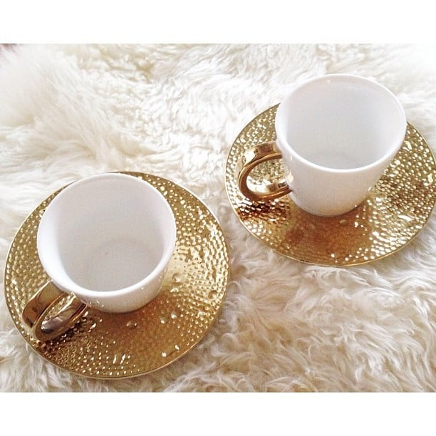 The finds: these delicate golden teacups.