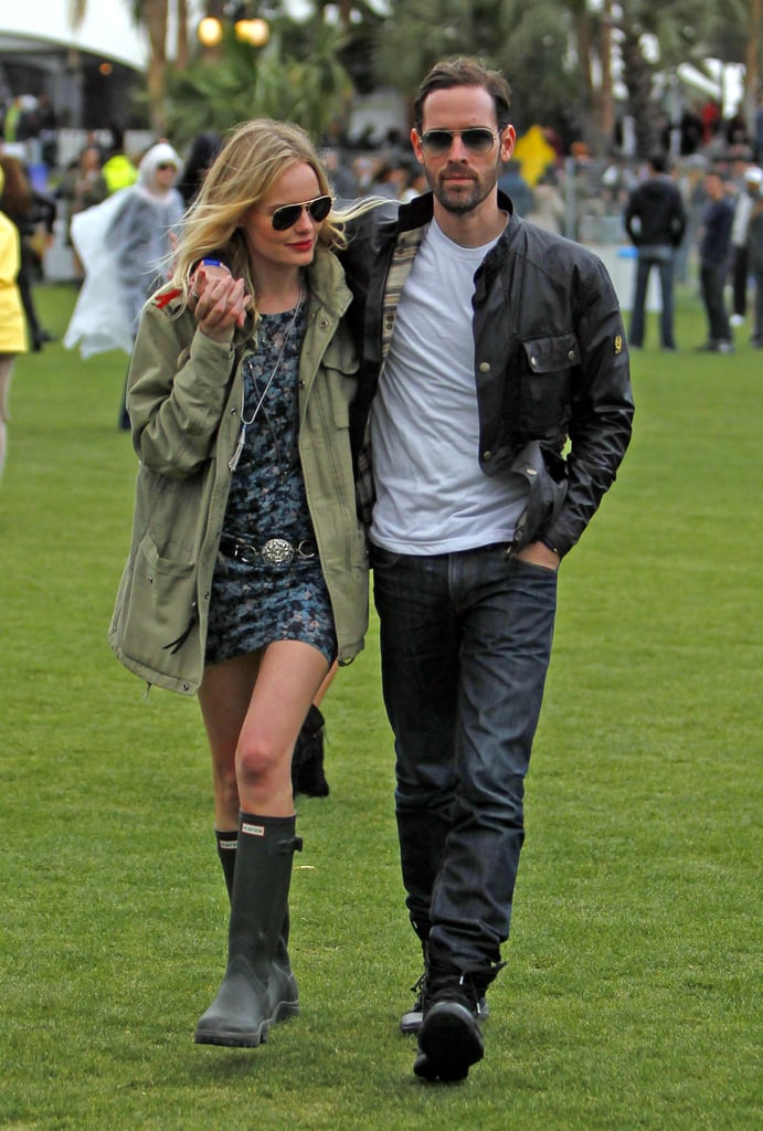Kate Bosworth and Michael Polish showed PDA on the Coachella grounds in 2012.