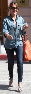 Haylie Duff Wears a Denim Ensemble