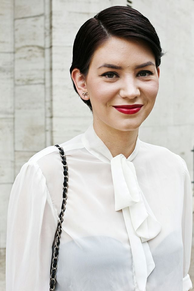 An Audrey Hepburn-inspired pixie is as timeless as it is beautiful, especially when paired with red lipstick. Photo by Caroline Voagen Nelson