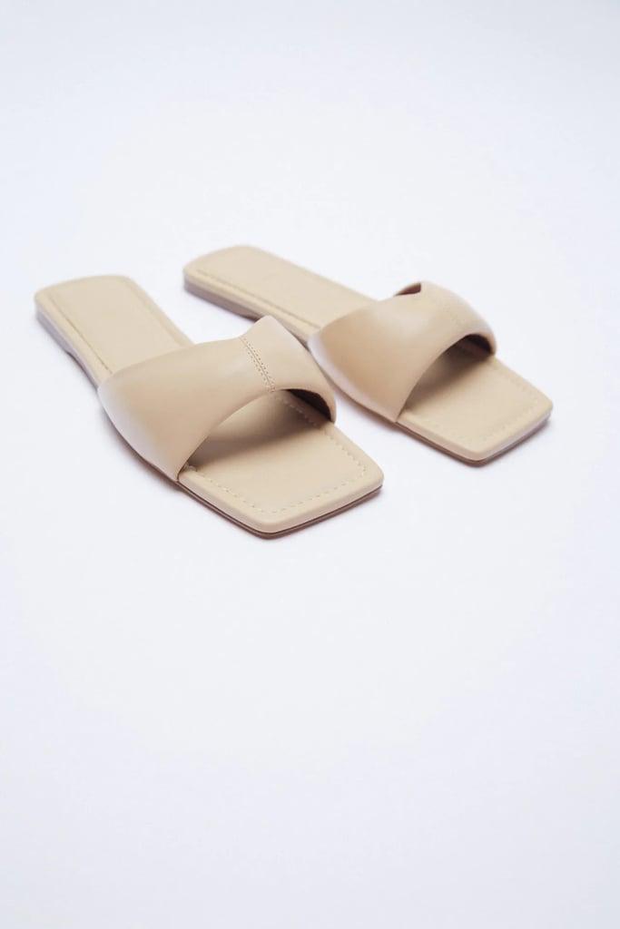 Zara Flat Padded Leather Sandals