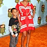 Nia Long and son Massai at Nickelodeon Kids' Choice Awards.