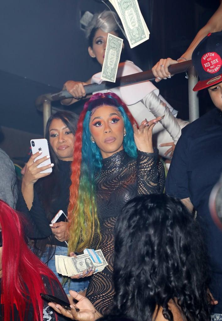 Cardi B Rainbow Hair December 2018