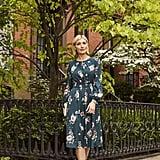 Eliza J Floral Print Long Sleeve Midi Dress