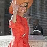 Queen Maxima Wears Neon Orange April 2016