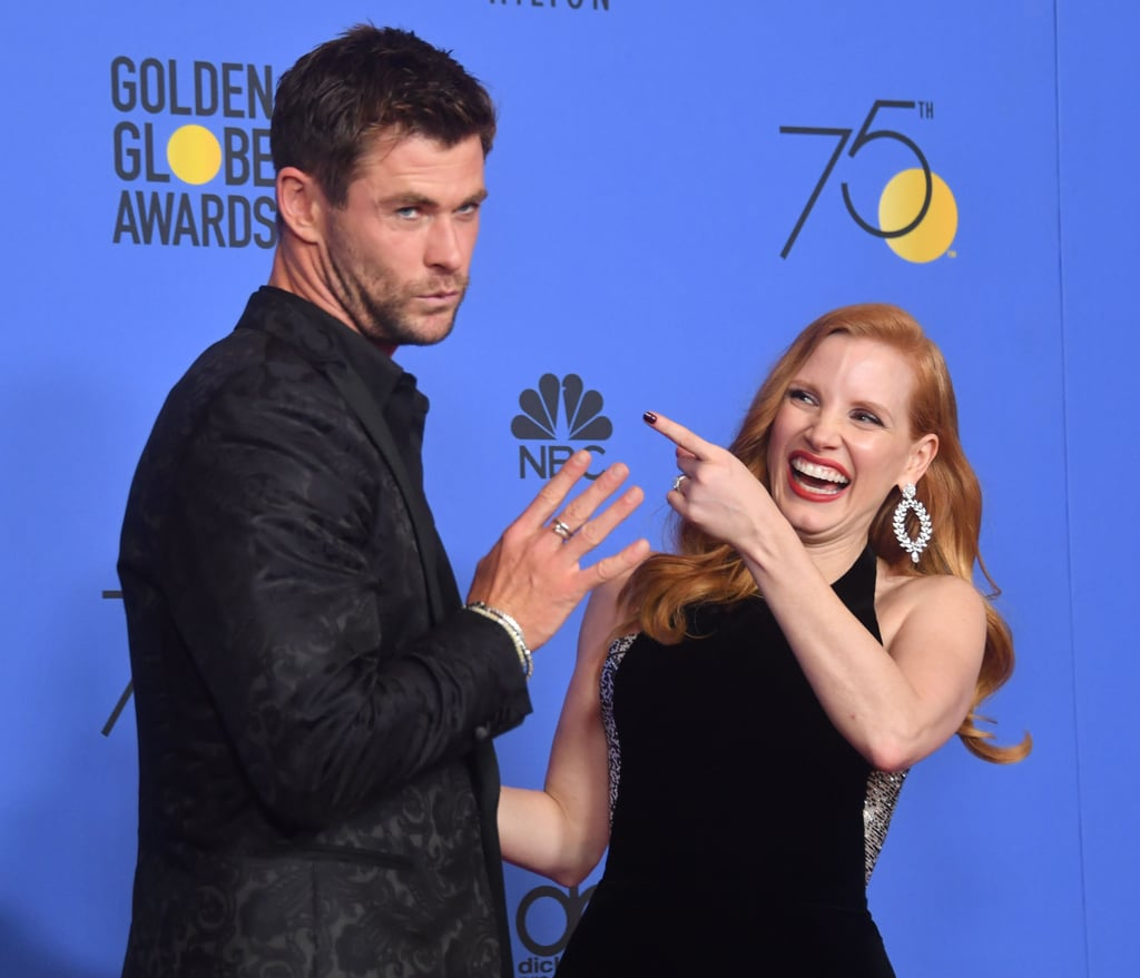 Pictured: Chris Hemsworth and Jessica Chastain