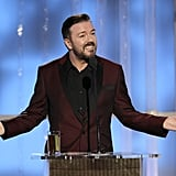 Ricky Gervais made many jokes as the host of the 2012 Golden Globe Awards.