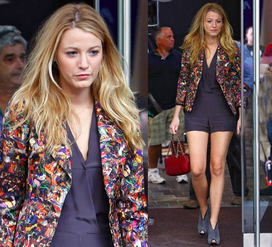 Photo of Blake Lively Wearing Navy Blue Jumper and Colorful Blazer in NYC
