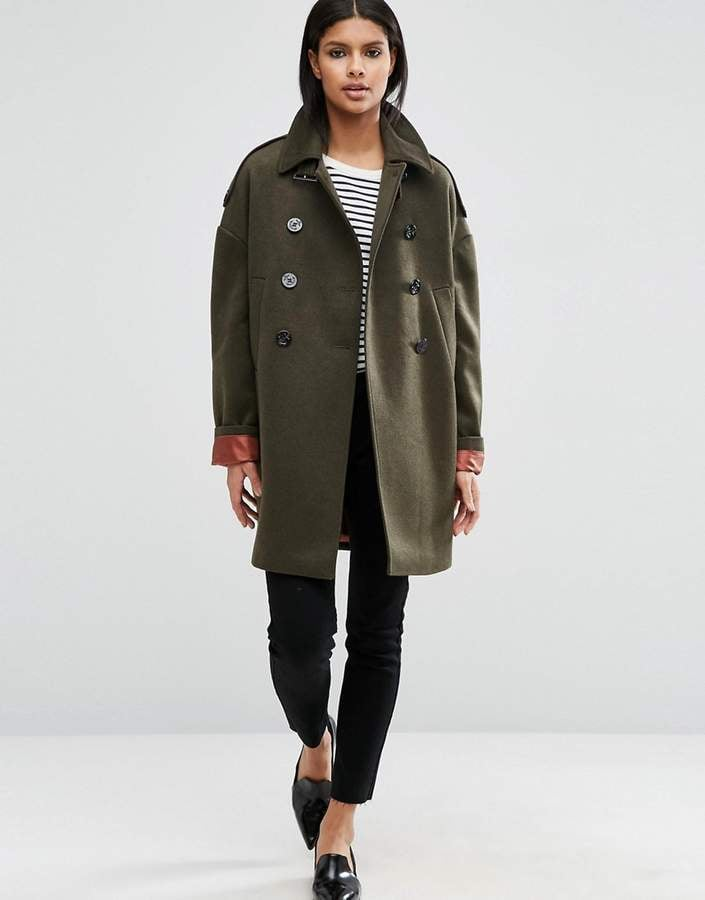 Asos Oversized Pea Coat with Contrast Liner
