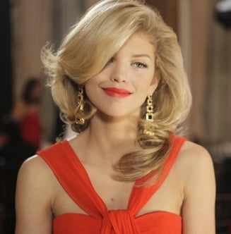 Naomi Clark Style in Red Dress and Gold Earrings on 90210 Finale