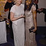 Amy Poehler said hi to Gabby Douglas at CNN's party.