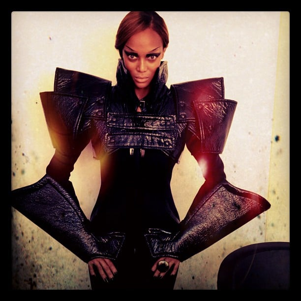 Tyra Banks suited up for a photo shoot. Source: Instagram user tyrabanks