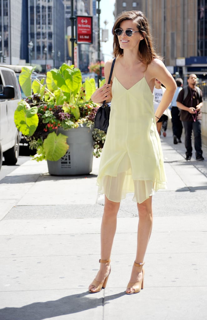 Hanneli Mustaparta slipped into a wisp of a dress and a pair of ankle-strap Phillip Lim heels.