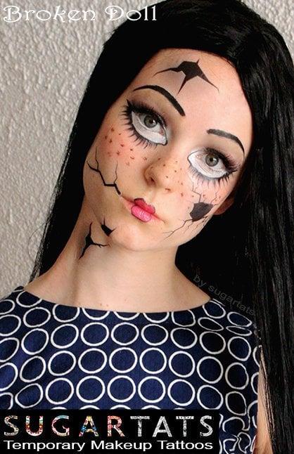 Broken Doll Temporary Face Tattoo Set