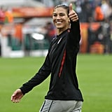 Hope Solo flashes a thumbs up and a smile during the 2011 World Cup.
