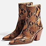 Topshop Harlem Leather Snake Western Boots