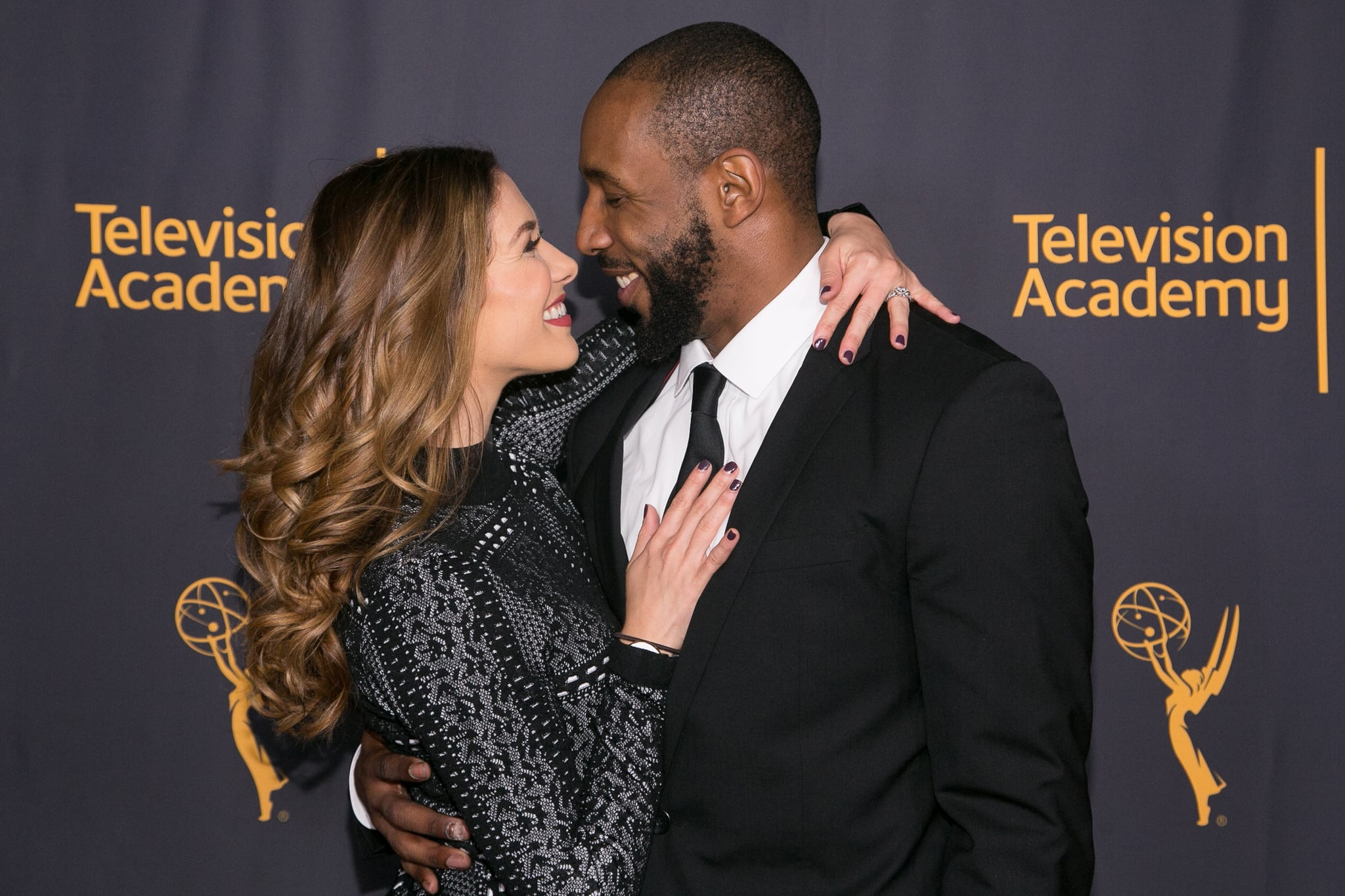 NORTH HOLLYWOOD, CA - FEBRUARY 16:  Stephen tWitch Boss (R) and Allison Holker arrive for the Television Academy's