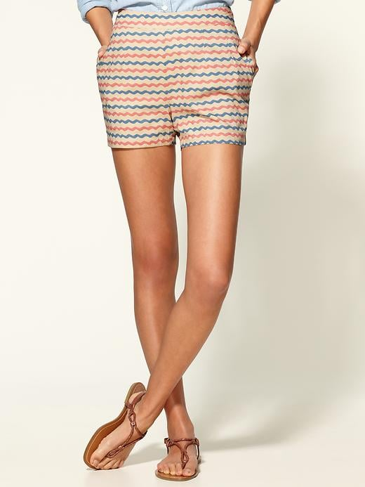 We'd wear these squiggly striped shorts with a white tee and denim button-down.  Tulle Striped Button Shorts ($64)