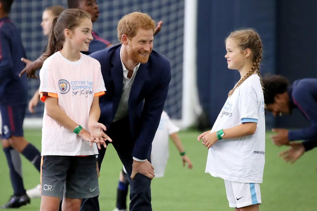 "Prince Harry is an uncle again, and he couldn't have been more excited about it! While visiting Manchester, England, the royal spoke briefly about the news that his brother, Prince William, and sister-in-law Kate Middleton were expecting their third child. Harry couldn't help but grin and give a thumbs up to a reporter who asked about the news, saying, ""Fantastic. Great. Very, very happy for them.""  Even though Kate was suffering from hyperemesis gravidarum, the severe nausea and vomiting she also experienced when she was pregnant with both Prince George and Princess Charlotte, Harry added that he thinks she was doing OK. Aside from beaming over the baby news, the royal put his fun uncle skills to the test as he bonded with children during his tour of Walking With the Wounded and stopped by a training session at the Manchester City Football Club for a little game of soccer.       Related:                                                                                                           38 Times Prince Harry Was Out-of-Control Cute With Kids"