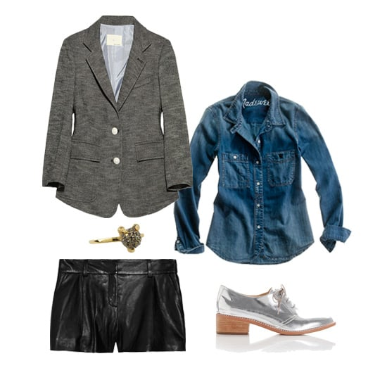 Those leather shorts you picked up to wear during Summer nights out on the town? They now work perfectly for the office, especially with black tights and a blazer. Tuck in a denim button-down and add office-appropriate pieces like a tweed jacket, metallic loafers, and an edgy-cool ring. Shop the look:  Boy by Band of Outsiders Cotton-Blend Tweed Blazer ($990) Madewell Denim Boyshirt ($88) Loeffler Randall Joanna Welted Oxford ($350) Diane von Furstenberg Naples Leather Shorts ($475) House of Harlow 1960 Talon Crystal Stacking Ring ($60)