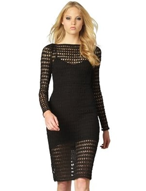 The sexy, open lace knit gets balanced with a longer hemline.   Nanette Lepore Ambrosia Lace Dress ($428)