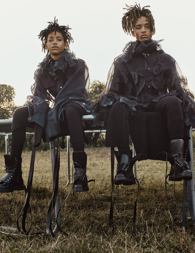 """Jaden on how """"Willow is better at everything"""": """"Willow started making music first. I was like, 'My younger sister is, like, 4, and she's making all these fire songs. What's happening?' Willow was doing all these things, about to have record label deals at like the age of 6, and I was like, 'I feel like I'm underachieving.' That was around the time that I was doing Karate Kid, and I could do flips, and I thought I was special because I could do flips. But Willow could do the flips, too! Willow naturally had it. Like, I was trying to do no-handed cartwheels. Willow had it. I was trying to get to the studio. Willow was in the studio. You know what I'm saying? Willow just didn't have as big as a passion for acting as me. But if she did, she could do what I did. So there's always been competition, but we've always worked as hard as possible to do the things that we want to do. We never got upset because we could always do the same thing. It happened so that me and Willow were able to go through every level or different section of life that we wanted to. If we wanted to act, we could act. If we wanted to dance, we were dancing. And we could do it on the level that we wanted to do it. So there was no, like, 'I'm mad at you.' Well, we would get mad at each other when we were young, but that stopped when we were, like, 9."""""""