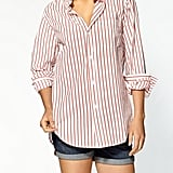 We're a sucker for the classic tee, but in a button-down version, these stripes take on that borrowed-from-the-boys vibe we love — perfect for wearing as a cover-up at the beach.  Current/Elliott The Prep School Shirt ($174, originally $218)