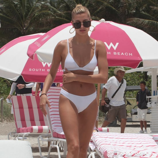 Hailey Baldwin White Bikini in Miami