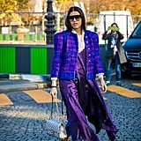 Coordinate Colors With a Tweed, Boxy Blazer on Top and Your Jeans on the Bottom