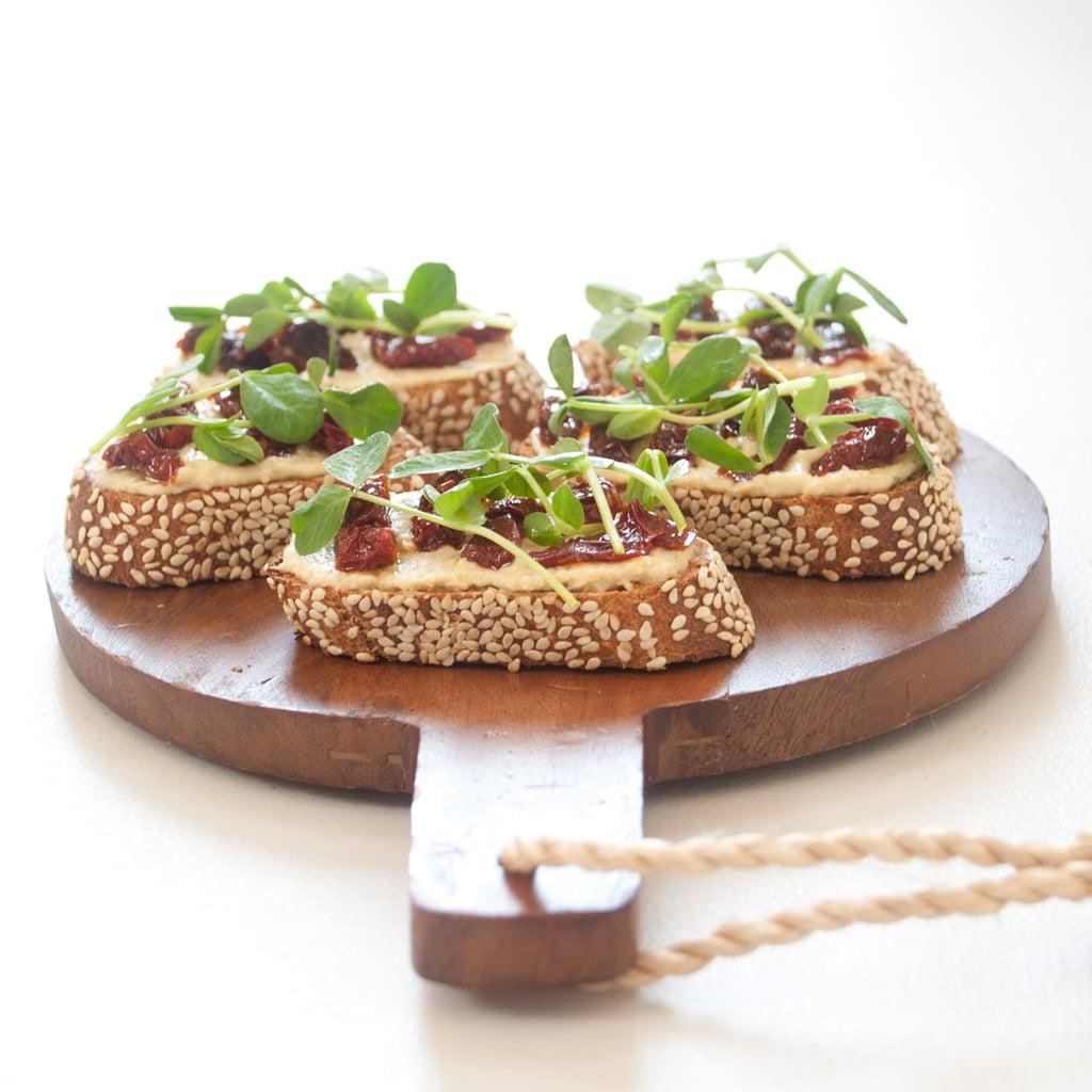 Vegetarian Appetizers: Hummus Toast